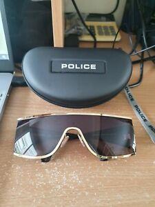 POLICE ORIGINS 5 SPL892 0300 Men Large XL Wraparound Visor Sunglasses GOLD BLACK