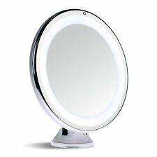 10X Magnifying Lighted Travel Makeup Mirror Touch Activate Suction Battery Round