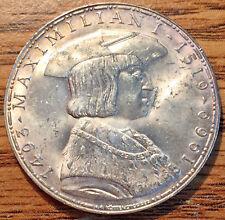 1969 Silver Austria 50 Schilling 450th Anniv. Death of Maximilian I Coin UNC+