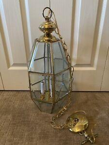 """Vintage Large Brass Beveled Glass Foyer Chandelier Hanging Light 23"""" EUC"""