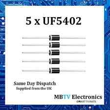 5 x UF5402, Diode 200V 3Amp 2 Pin DO-2 Soft Recovery Ultrafast Plastic Rectifier