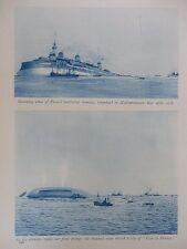 1916 LOSS OF FRENCH BATTLESHIP GAULOIS TORPEDOED IN MEDITERRANEAN WWI WW1