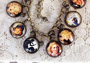 NANCY DREW Altered Art GLASS DOME CHARM BRACELET Vintage BOOK COVER Jewelry