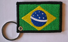 BRAZIL FLAG EMBROIDERY KEYRING EMBROIDERED PATCH BADGE KEY CHAIN CHROME RINGS