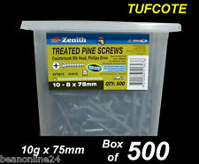 Treated Pine Timber Screws - Tufcote -  BULK 10g x 75mm - Box of 500