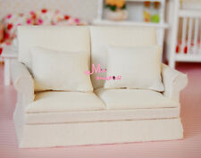 1/12 Dollhouse Miniature Pure White Double-Seat Sofa W/ Cushions