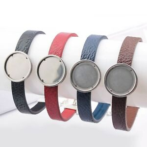 Stainless Steel Cuff Bangle Fit 20mm Leather Cabochon Bracelet Base Setting Diy