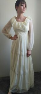 Vintage 70s Boho Prairie Wedding Dress Ivory Cream Lace Tiered Maxi Nylon 6 8 S