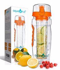 AquaFrut 32oz Fruit Infuser Water Bottle (Orange) with Bonus Brush USA Seller!