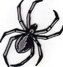 "SPIDER, BLACK WIDOW(3 1/2 "")- INSECT - BUG - IRON ON EMBROIDERED APPLIQUE PATCH"