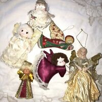 Vintage Lot Of 6 Cute Angel Christmas Ornaments Japan Embroidered Satin Lace