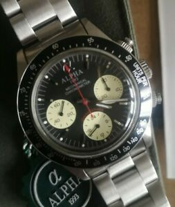 "NOS 39mm Alpha ""Paul Newman panda dial Daytona"" homage manual chronograph"
