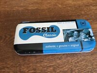 Vintage Empty FOSSIL Watch Tin Box Classic Case 1997
