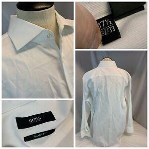 Hugo Boss Sharp Fit Dress Shirt 17.5 33 White 100% Cotton LNWOT YGI B1-334