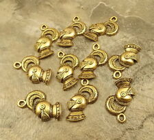 Ten (10) Gold Tone Pewter Charms - Knight'S Helmet - 5066