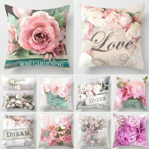 "18x18"" Christmas Sofa Pillow Case Rose Flower Cushion Cover Decorative Covers"