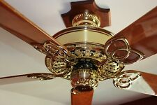 "Restored Vintage Casablanca Victorian Polished Brass 52"" Ceiling Fan Made in USA"