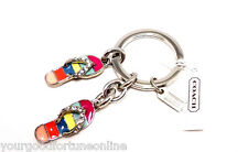 NEW COACH Pave Crystal Flip Flop Sandal Key Ring Chain Purse Charm Summer 93163