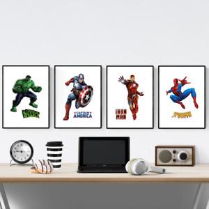 Marvel Avengers Superhero Set Of 4 Prints Pictures Wall Art Poster