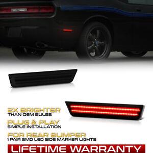 Fit Dodge Challenger/Charger Rear Bumper Smoke LED Side Marker Lights Lamp LH+RH