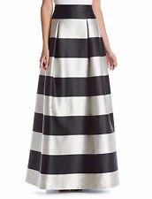 12 ELIZA J Black Off-White Stripe Satin Full Length Ball Skirt NWT $228