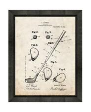 Golf Club Patent Print Old Look in a Beveled Black Wood Frame