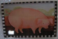 Country Pig Fridge Magnet Hog Acrylic Black and White Checked Border Morris