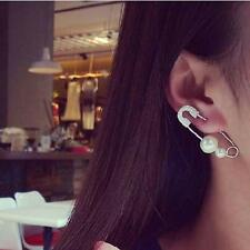 1PC Women Safety Jewelry Pin Punk Ear Stud Pearls Brooch Earring
