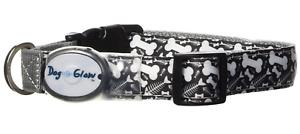 Dog E Glow Light Up Fishbones Dog Collar - Large 15 - 21 Inches - Black #1A229