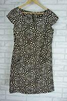 JESSICA  Dress Sz 10 Brown, Cream circle print