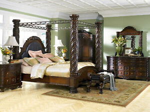 Old World Cherry Brown Bedroom Furniture - 5pcs Set w/ King Size Canopy Bed IA09