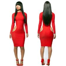 Sexy Red L XL dress fetish Kleid cut out Bodycon uk 14/16 42/44 stretch