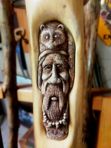 hand carved wood walking stick