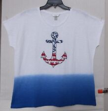 CJ Banks Size 1X Pullover knit top, embroidered anchor, red, white, blue NWT