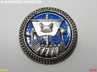 steampunk brooch badge pin silver boat viking longship larp norse metallic blue