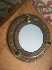 "8"" Maritime Brass Porthole Round Window Glass Nautical Boat Ship Porth Mirror"