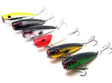 New 6pcs Plastic Fishing Lures Popper Bass Poper Crank Baits Fish Tackle 7cm 9g