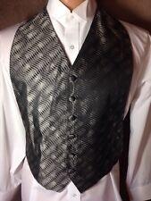 Shiny Silver Black Geometric Waves Claiborne Tuxedo Vest One Size Fits All