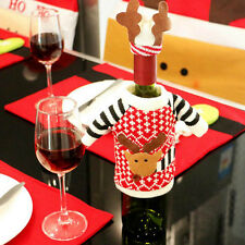 Christmas Knitted Reindeer Sweater Hat Wine Bottle Topper Wrap Table Cover Ullm
