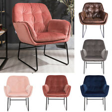 Industrial Distressed Vintage Velvet Armchair Sofa Lounge Chair Button Fireside