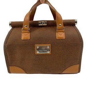 JM New York Doctor Bag Brown Pebbled Leather Handbag New *Missing Shoulder Strap