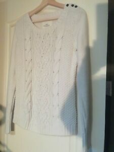 """Sweater Cable Knit Cream Jumper H&M Size 12 b42"""" stretch long sleeve"""