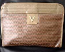 Vintage VALENTINO V Logo Monogram Canvas Clutch 80s