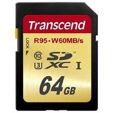 Transcend U3 64GB SDXC UHS-I U1 Class 10 4K Video R95 W60M SD Flash Card 64G
