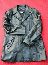VTG Leather Trench Coat Spy Jacket Men's 44 Black - Used Movie Costume