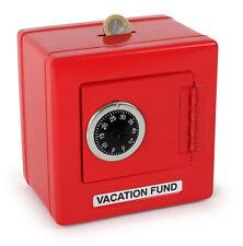 METAL COMBINATION LOCK SAFE SHAPED BANK MONEY BOX PIGGY BANK RED COLOUR SAVING