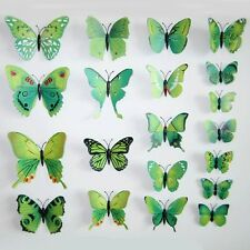 12Pcs Green 3D Butterfly Wall Decals Removable Sticker Magnets