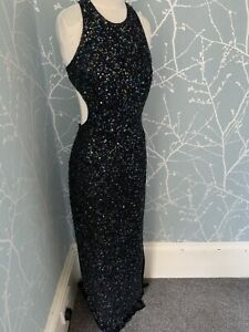 Vintage Scala Silk Dress Encrusted With Sequins Stunning Small