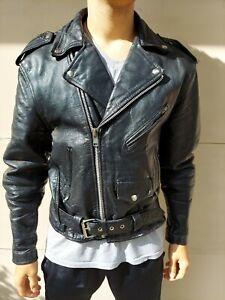 UNIK Black Leather Jacket Size 42 Offser Zipper Lined Men's Motorcycle