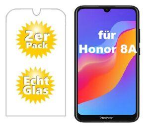 2x Huawei Honor 8A Schutzglas 9H Panzerfolie Echtglas Displayschutz Glas